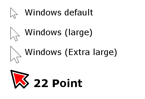 [Image of our cursors compared to the Windows standard size]